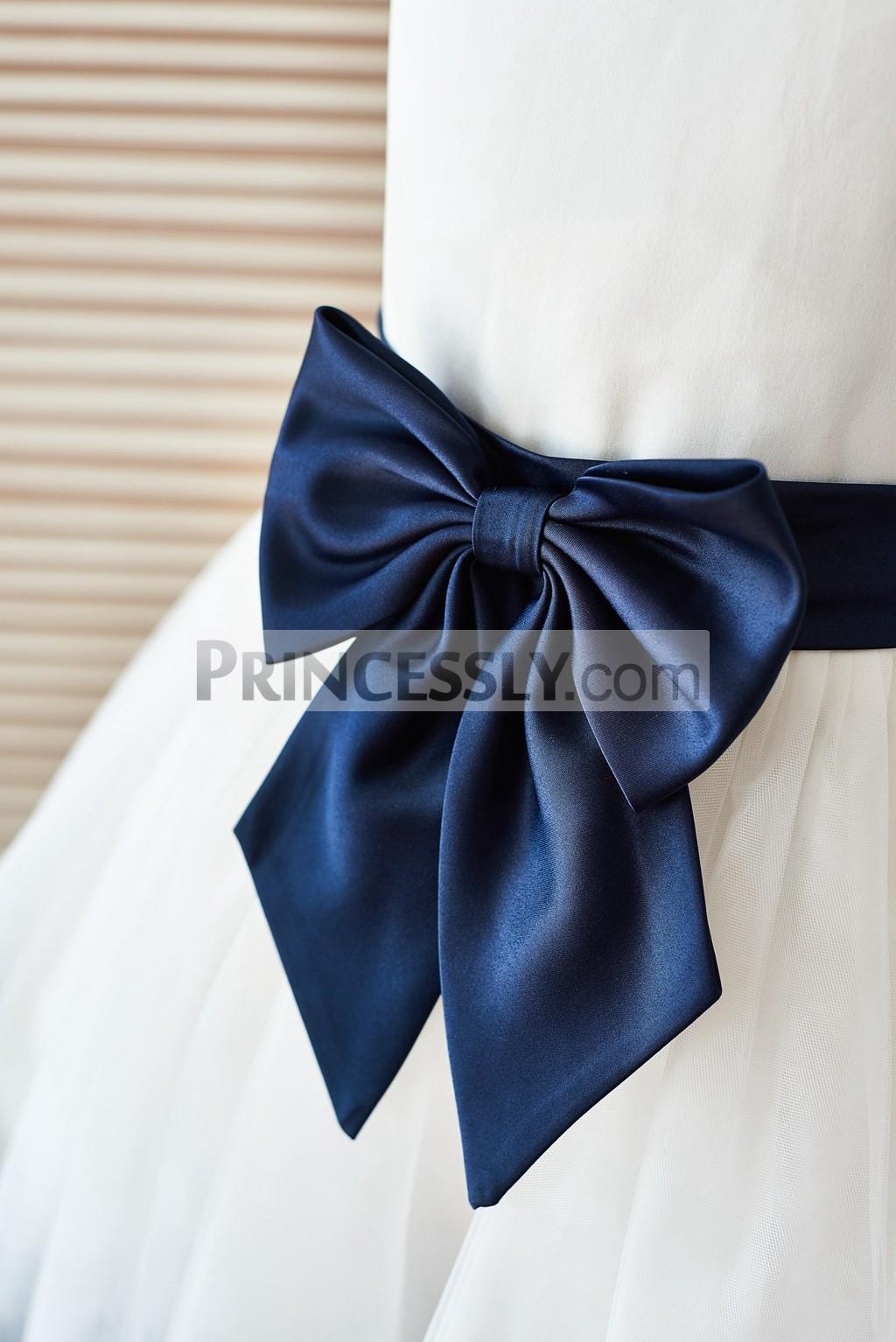 Navy blue satin sash and bow