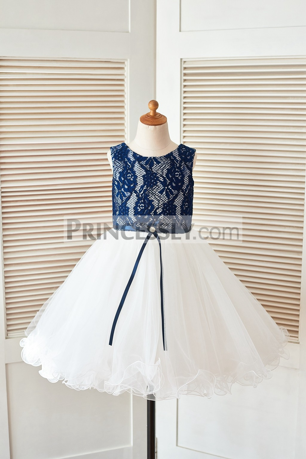 4a44f5ea4 Navy Blue Lace Ivory Tulle Curly Hem Flower Girl Dress with Ribbon ...