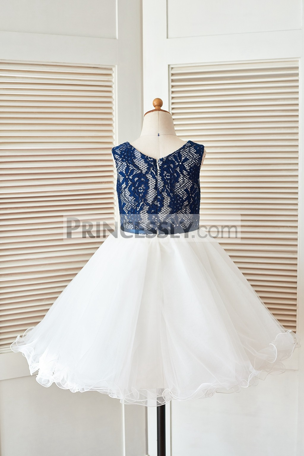 Navy Blue Lace Ivory Tulle Curly Hem Flower Girl Dress