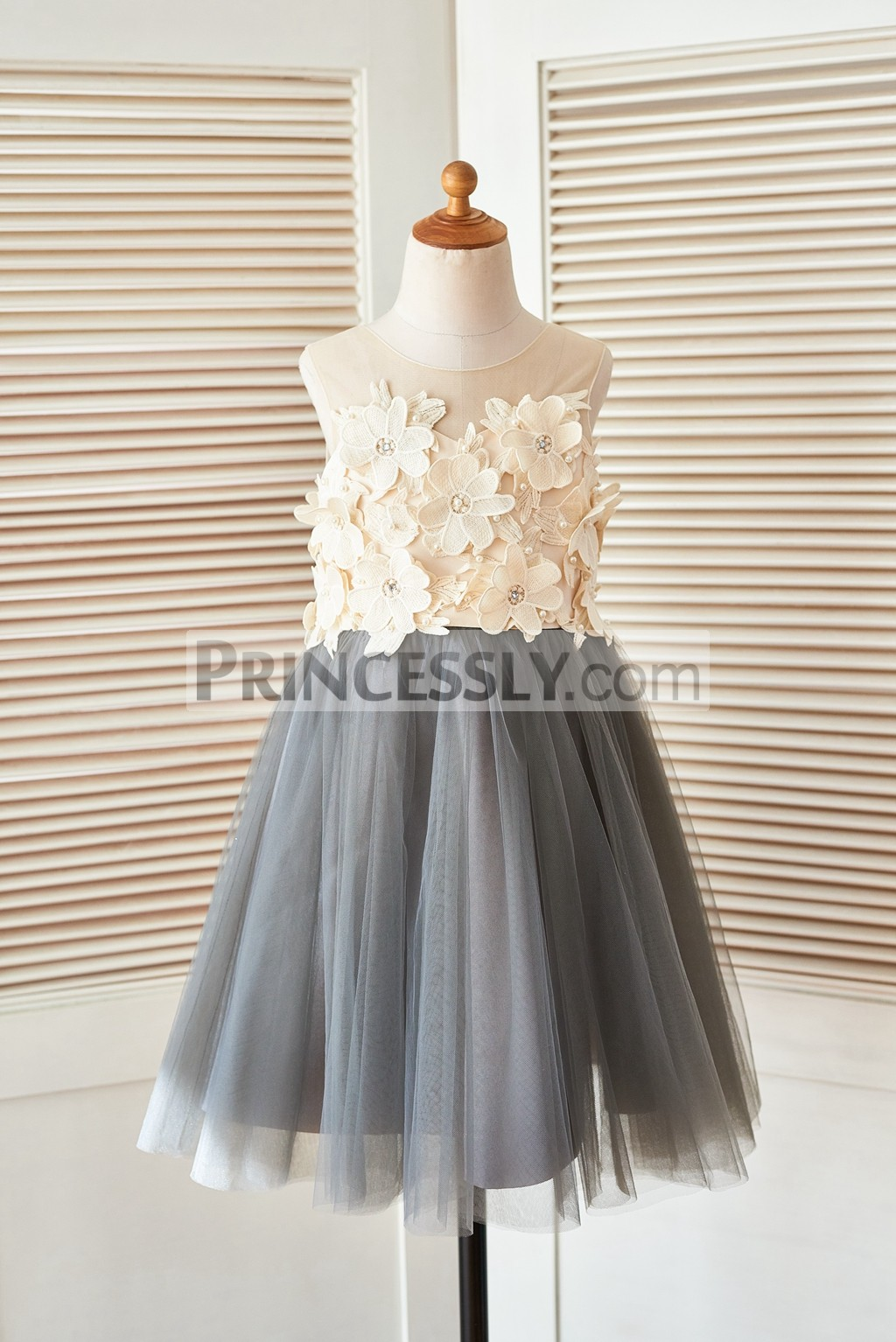 Sheer illusion neck gray tulle flower girl dress with for Wedding dress made of flowers