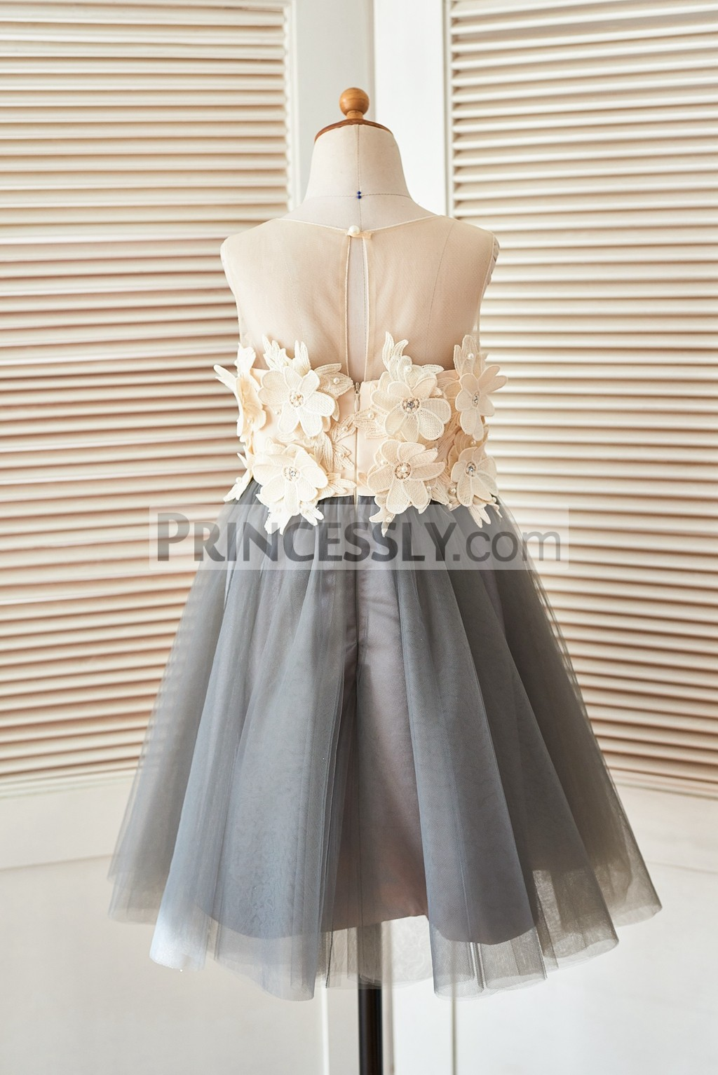 Sheer illusion neck gray tulle flower girl dress with for Flowers for champagne wedding dress