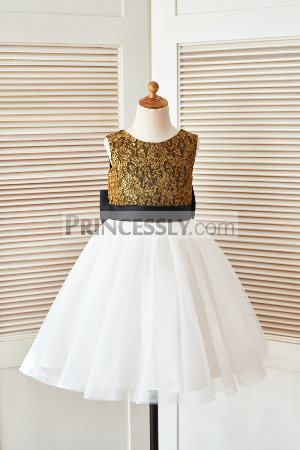 Gold Lace Ivory Tulle Flower Girl Dress with Black Belt and Big Bow