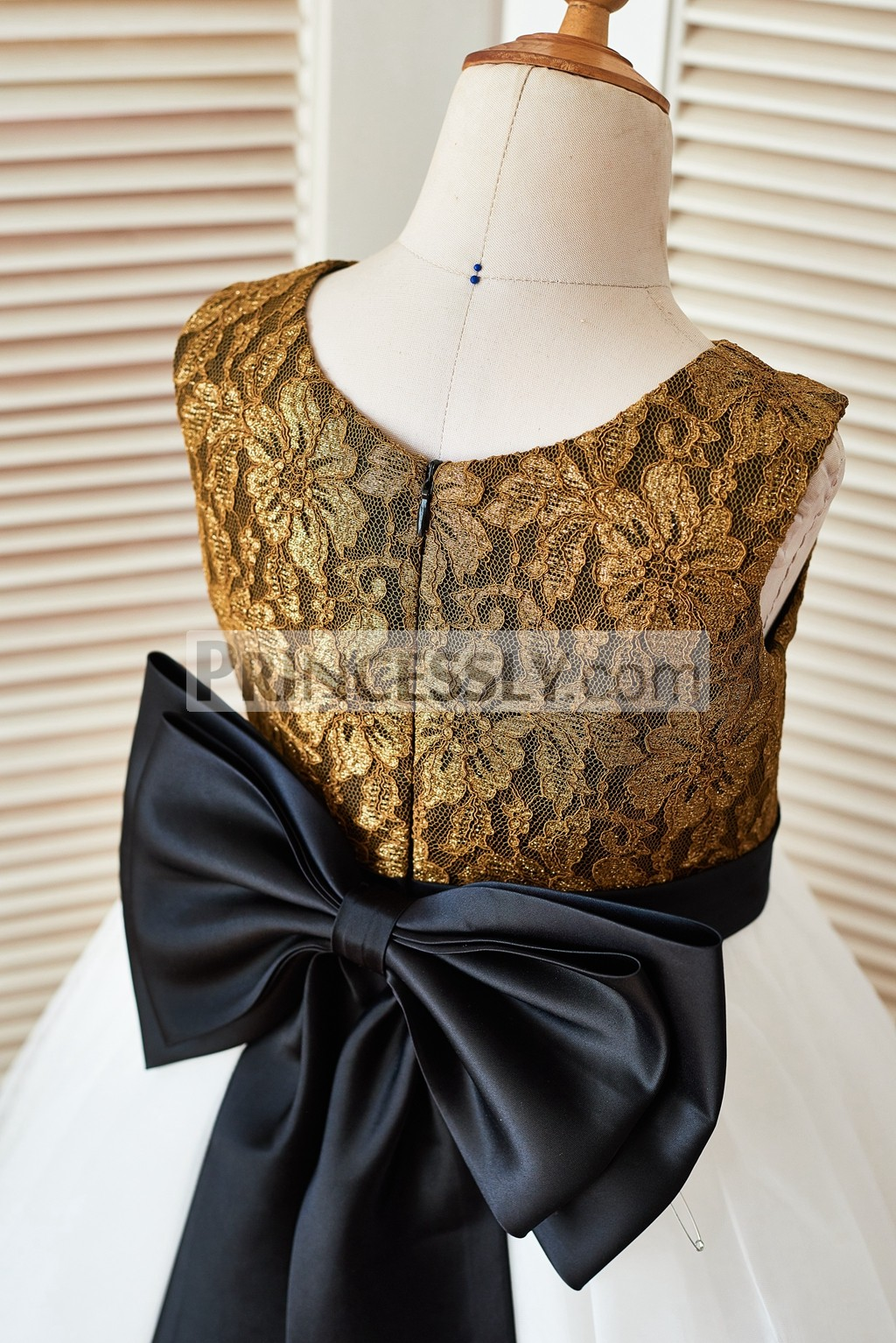 Gold Lace Ivory Tulle Flower Girl Dress With Black Belt And Big Bow  Avivaly-3341
