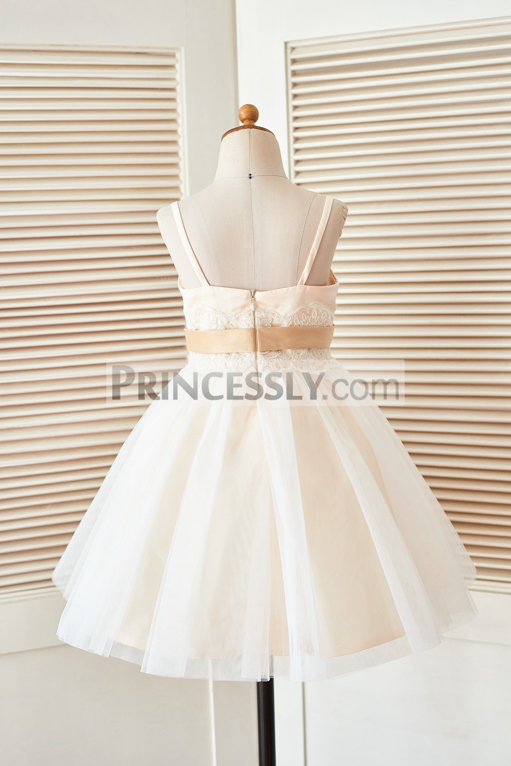 Spaghetti straps backless ivory tulle wedding baby girl dress
