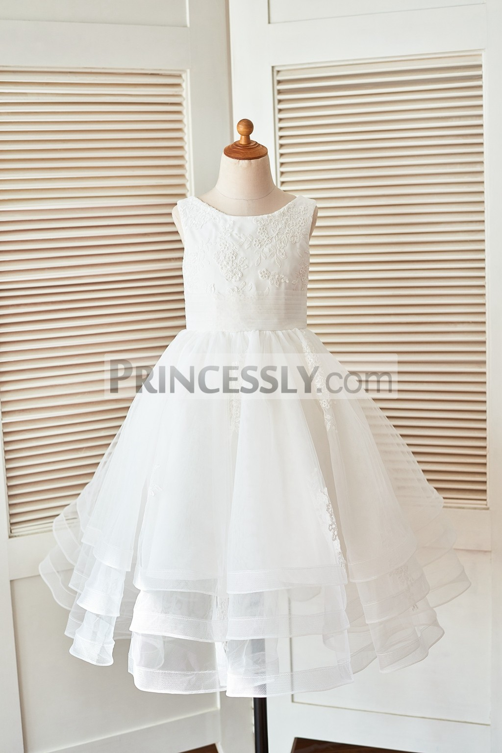 4413505df49 Ivory Lace Tulle Layers Flower Girl Dress with Horse Hair Tulle Hem
