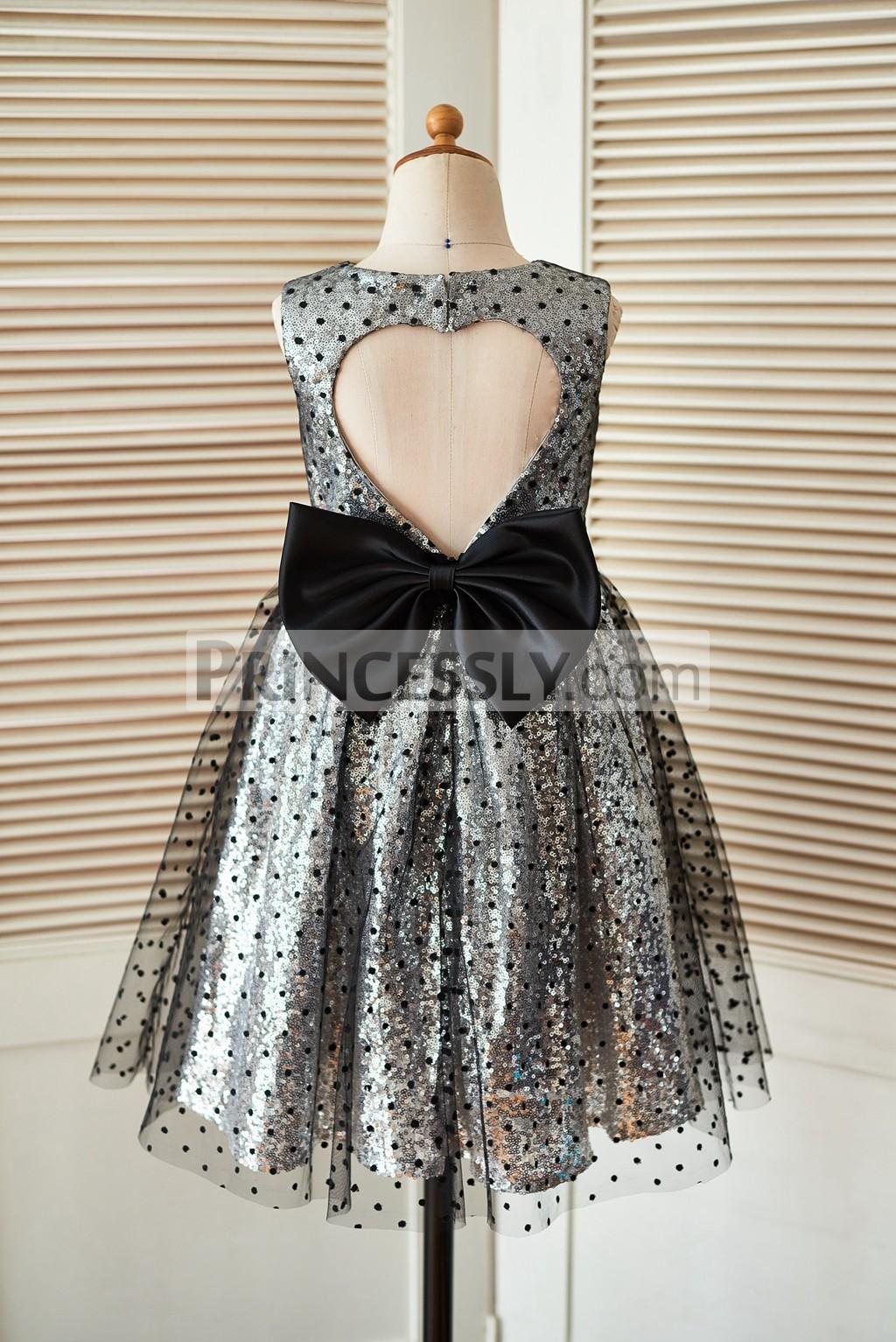 Silver sequin black tulle flower girl dress