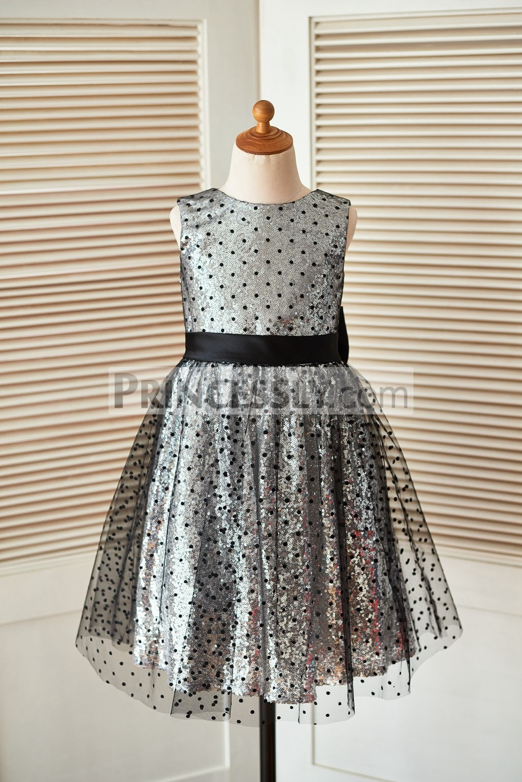 62970c64d8 Silver sequin black tulle flower girl dress · Black polka dot fully lined  wedding baby girl dress