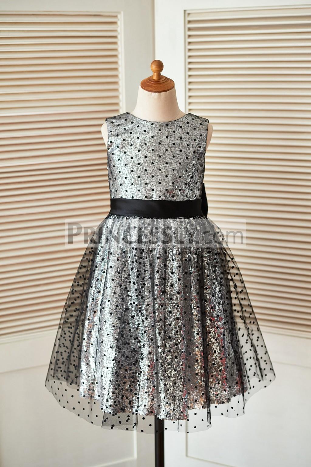 Black polka dot fully lined wedding baby girl dress