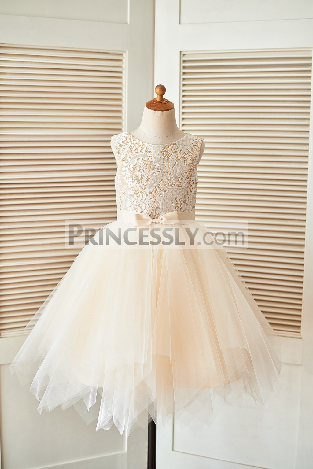 68c68c5d4b8 Ivory Lace Champagne Tulle Flower Girl Dress with Uneven Hem and ...