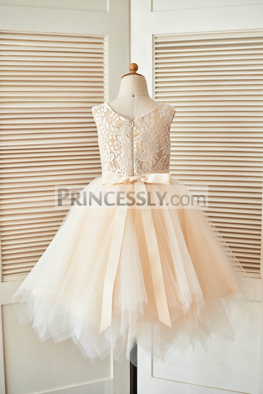 Ivory lace champagne tulle wedding baby girl dress