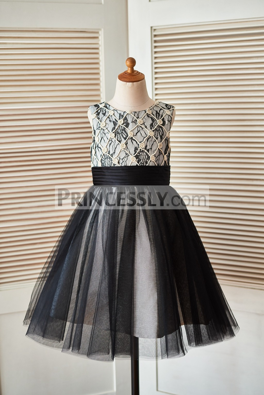 Champagne Rope Grid Black Lace Tulle Flower Girl Dress
