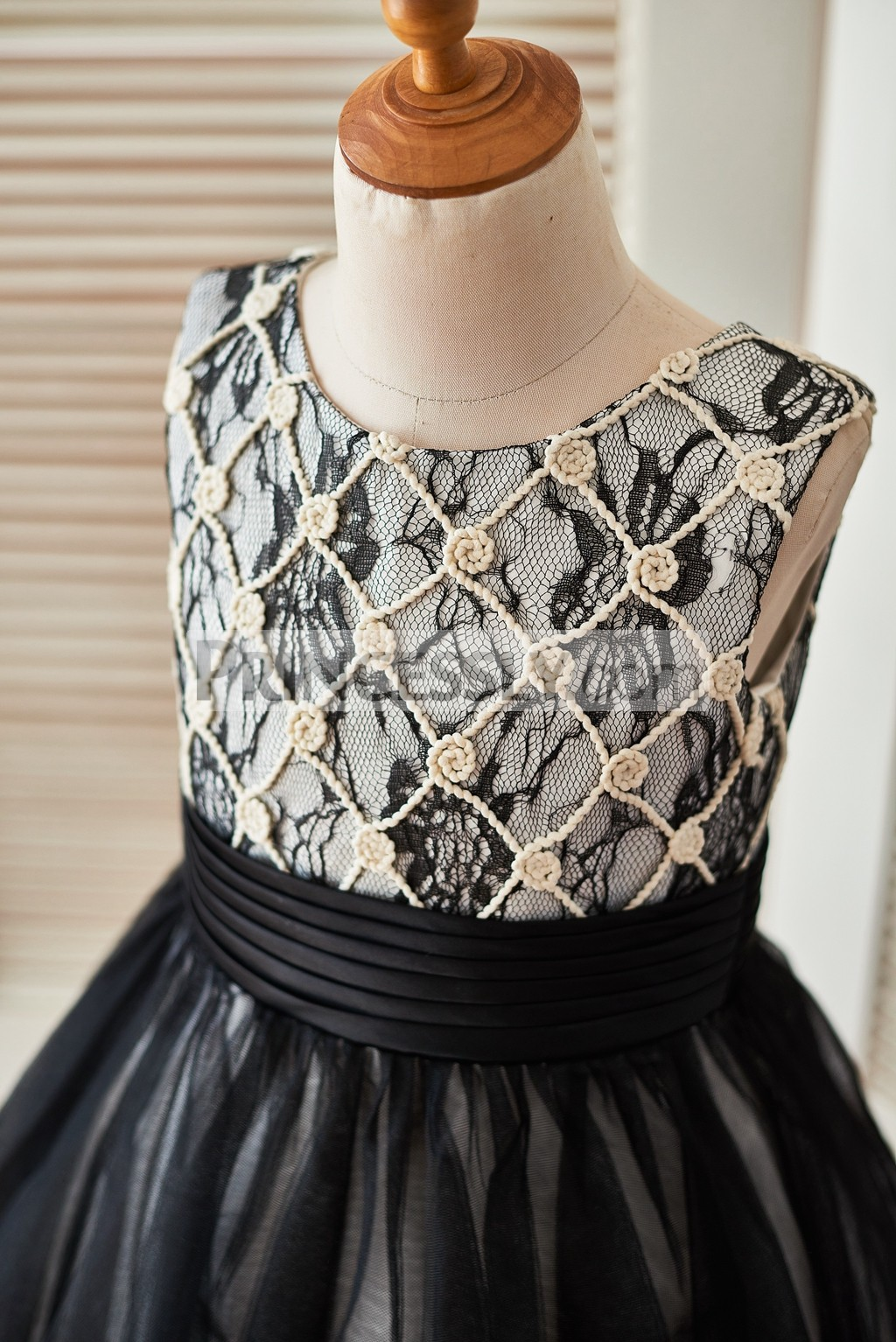 feb1418f535 ... tulle skirt princess wedding baby girl dress. Champagne rope grid over black  lace over delicate bodice