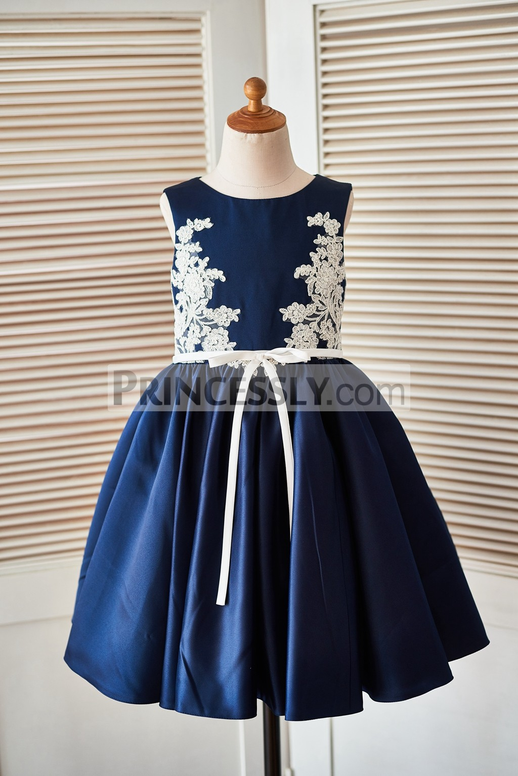 Ivory lace appliques navy blue satin flower girl dress