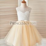 a6809d4e393 Champagne Rope Grid Black Lace Tulle Flower Girl Dress