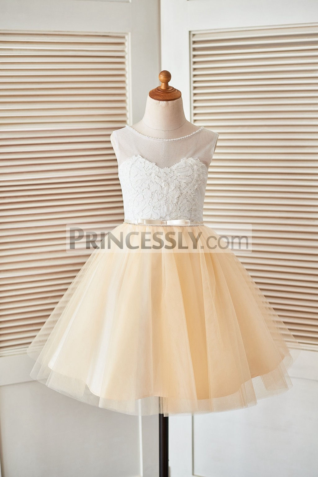 Sheer ivory lace champagne tulle flower girl dress with for Flowers for champagne wedding dress