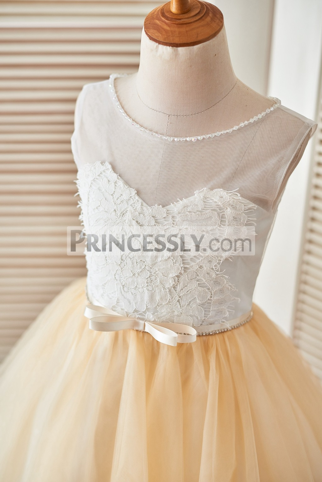 267a8c8a5c6 Ivory sheer lace champagne tulle flower girl dress. Beaded Open Back Tulle  Wedding Baby Girl Dress. Sheer floral lace bodice with a ribbon and bow