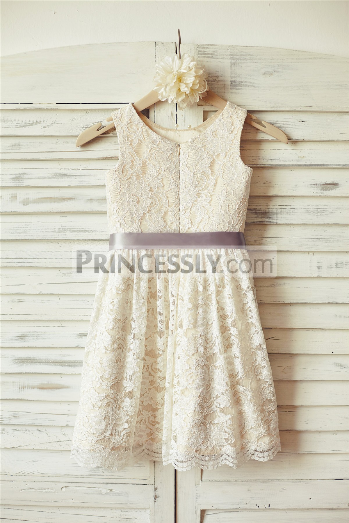 Ivory lace champagne lining wedding baby girl dress