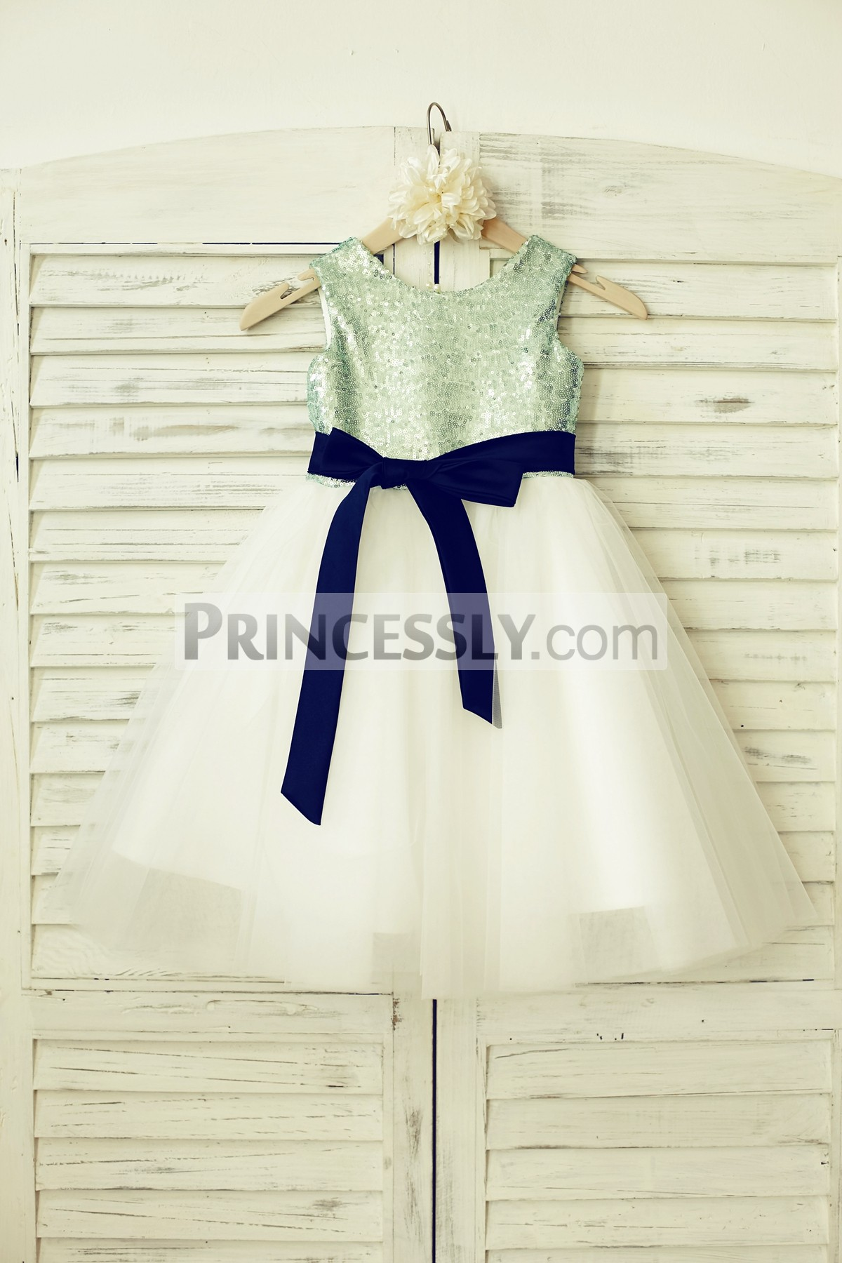 dd7a72ec4b Mint Sequin Ivory Tulle Flower Girl Dress with Navy Blue Sash