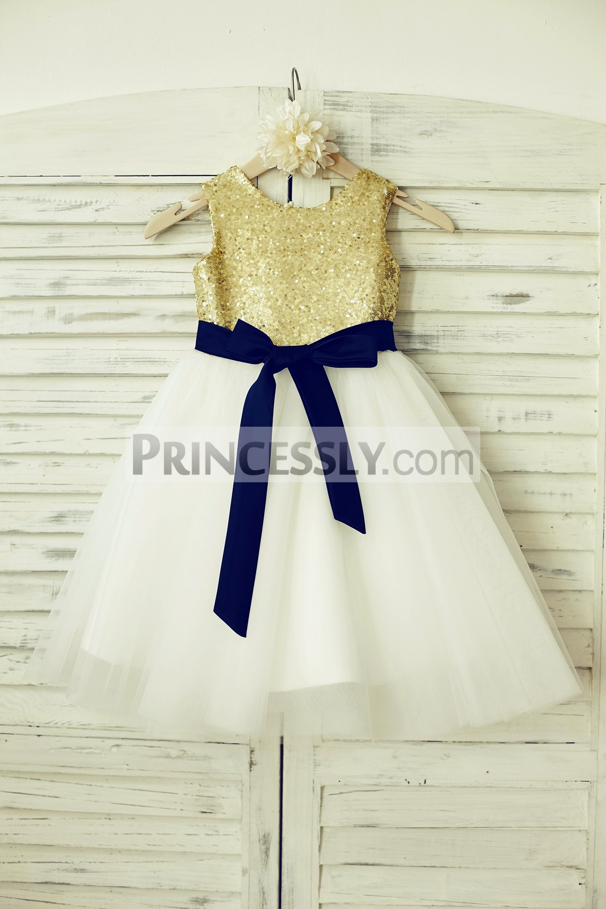 2f56f160d62 Mint Sequin Ivory Tulle Flower Girl Dress with Navy Blue Sash