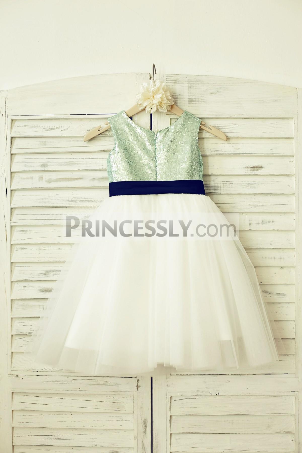 Mint green sequins ivory tulle skirt wedding little girl dress