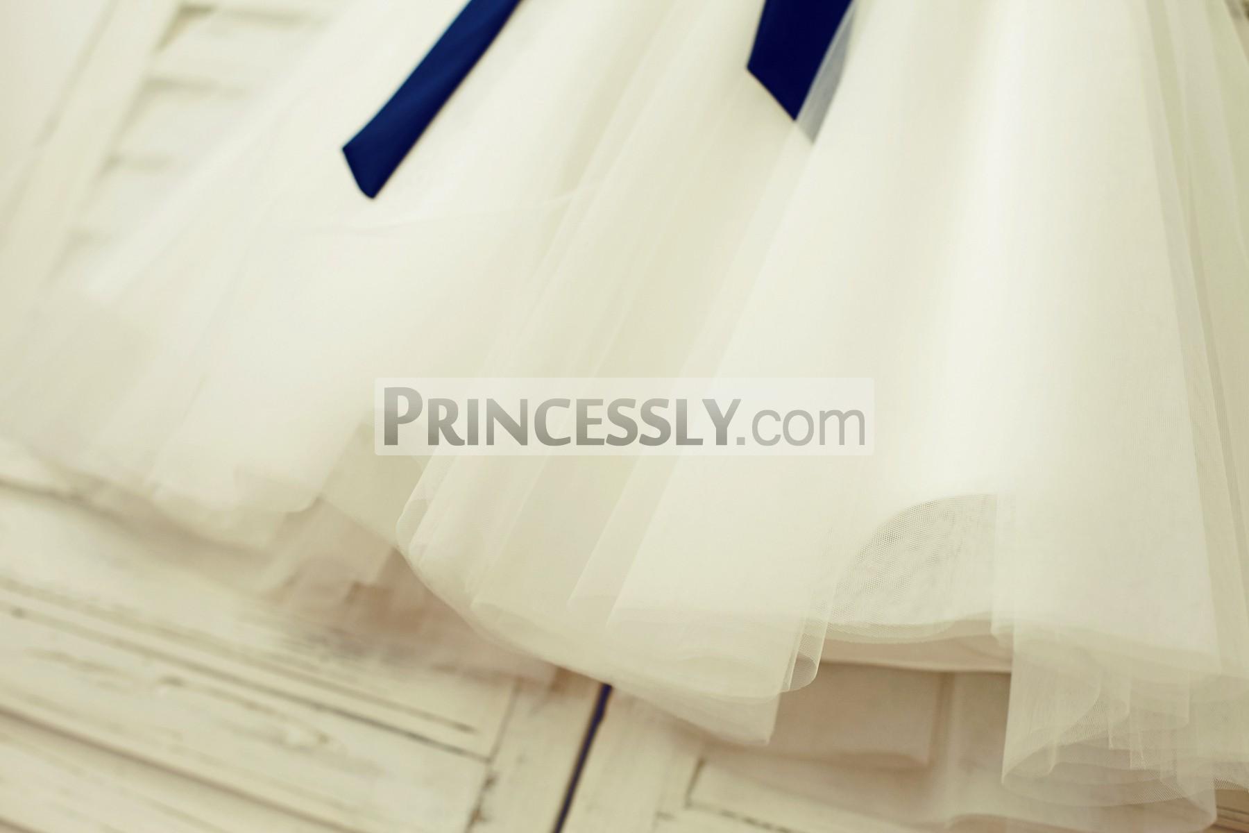 Layered sheer ivory tulle skirt