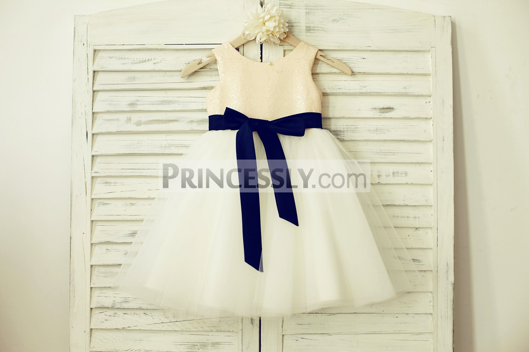 Peach pink sequin ivory tulle wedding baby girl dress with navy blue sash