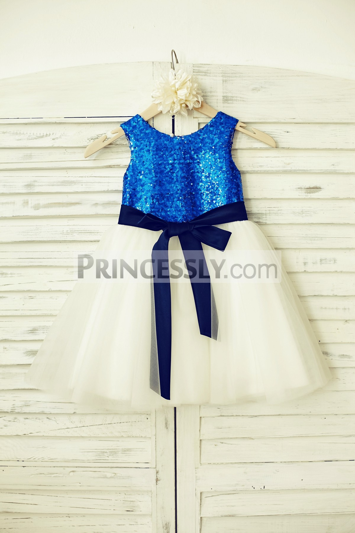 Blue sequin ivory tulle flower girl dress with navy blue sash