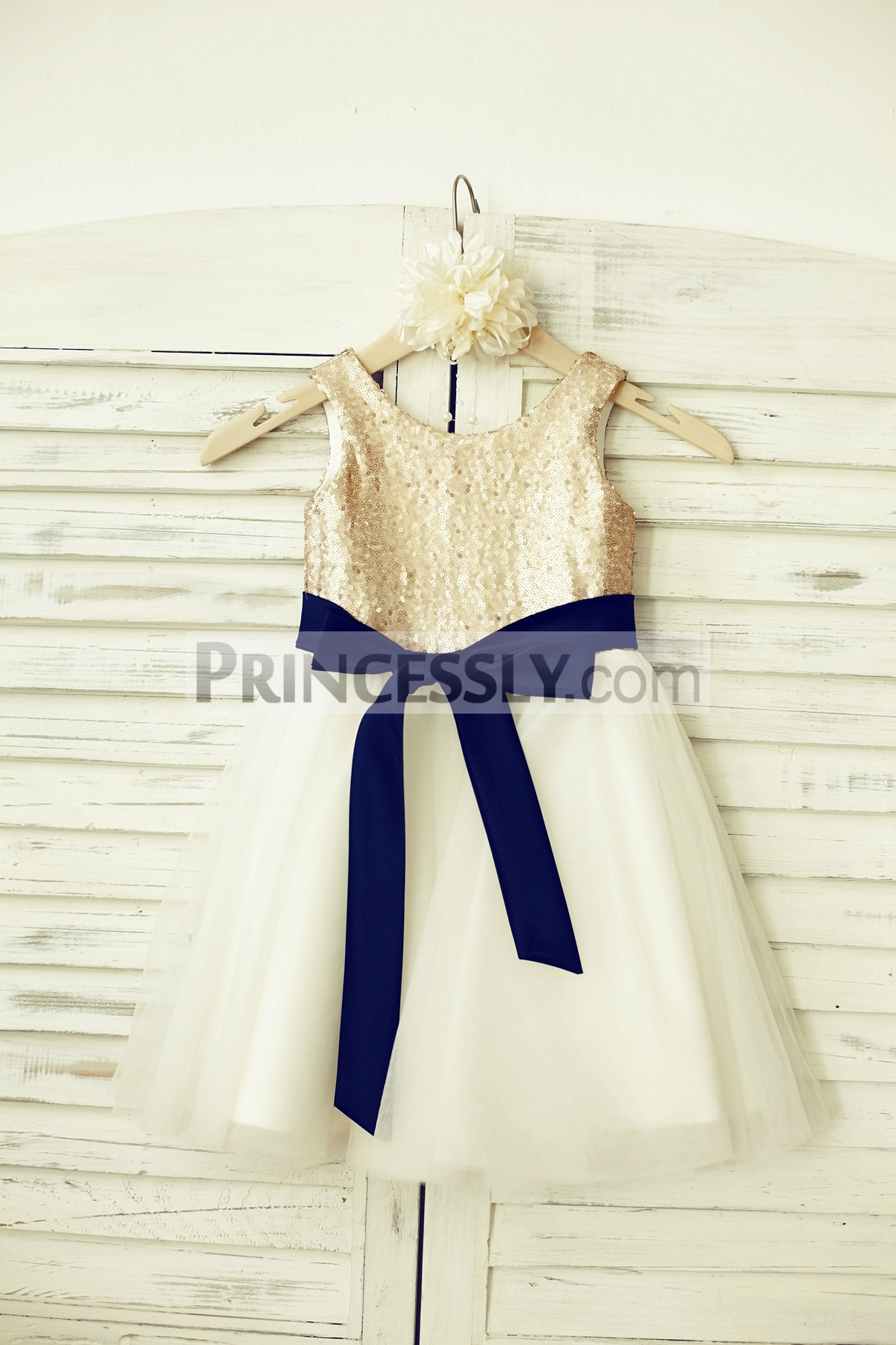 345940663d7 Champagne sequin ivory tulle wedding baby girl dress with navy blue sash