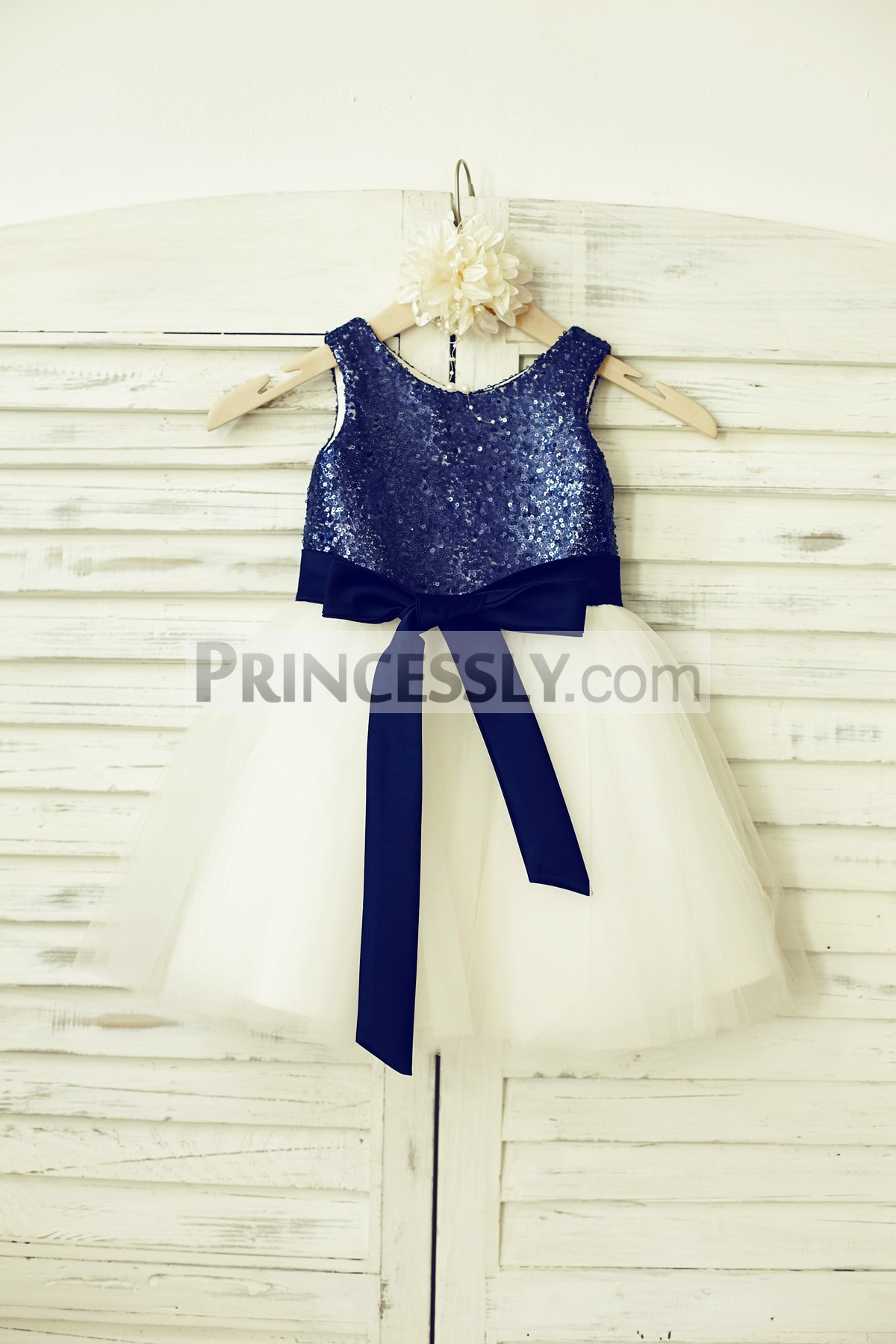 Blue sequin ivory tulle wedding baby girl dress with navy blue sash
