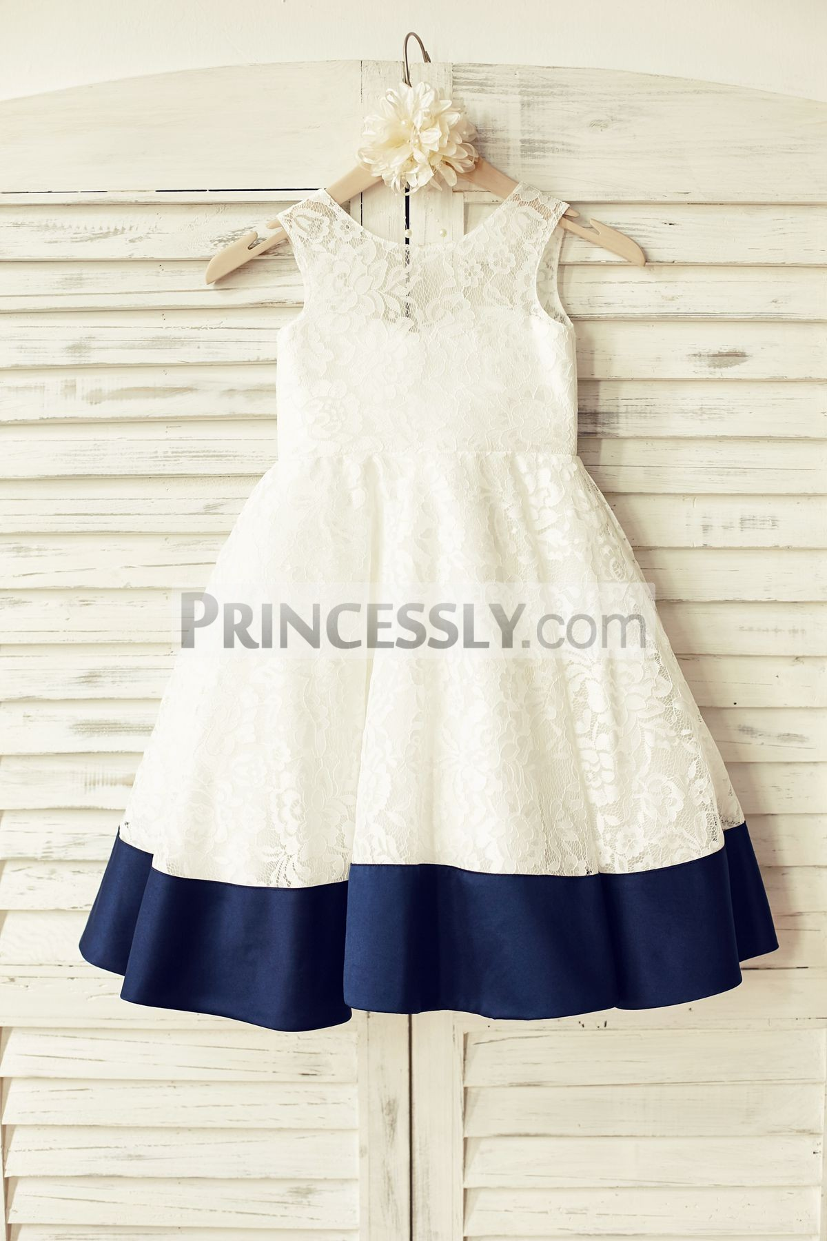 Sleeveless Deep V Back Ivory Lace Flower Girl Dress With Navy Blue