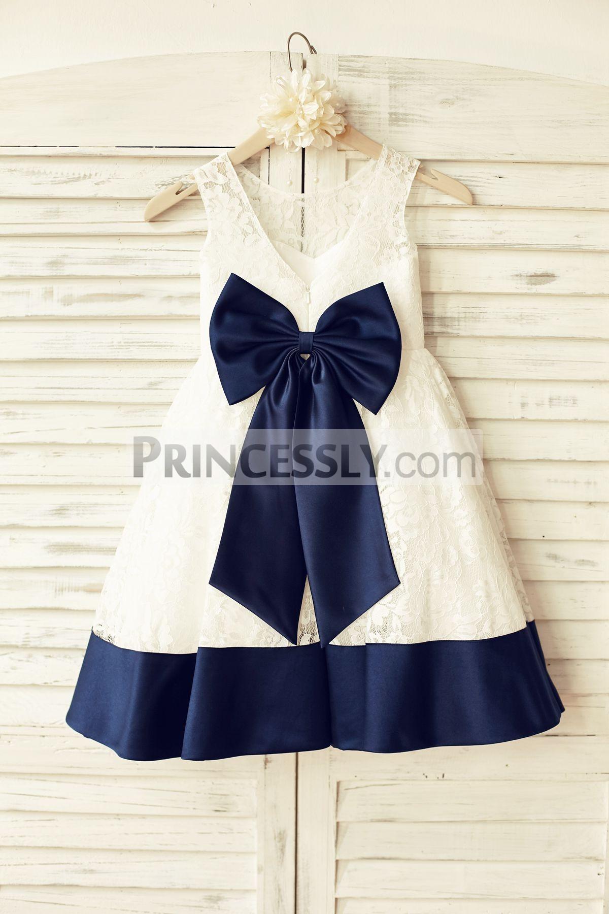 Sleeveless Deep V Back Ivory Lace Flower Girl Dress with