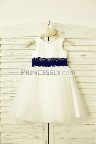 Princessly.com-K1000205-Ivory-Satin-Tulle-Flower-Girl-Dress-with-navy-blue-Lace-sash-31