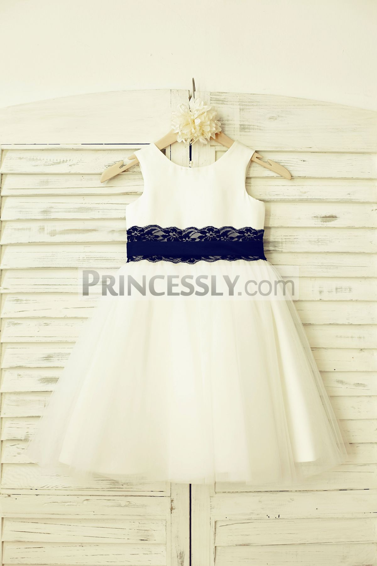 870ba94eb2d9 Ivory Satin Tulle Wedding Baby Girl Dress with Navy Blue Lace Belt ...