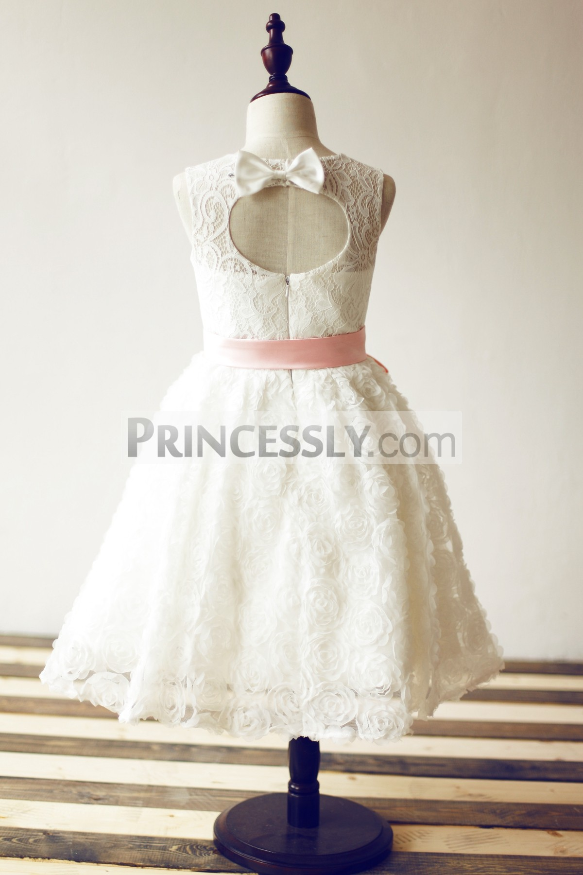 Keyhole back with a bow wedding baby girl dress
