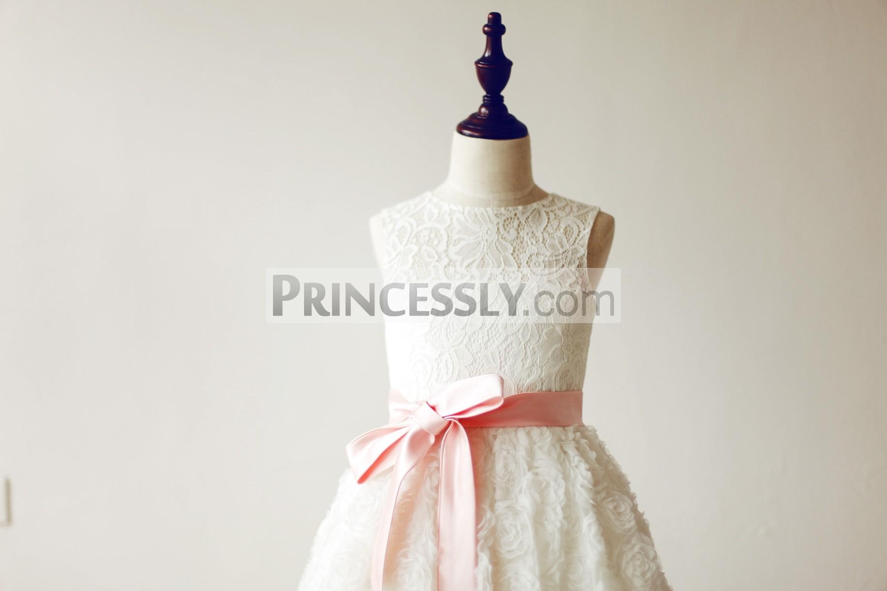 jewel neck sleeveless ivory lace bodice with pink sash