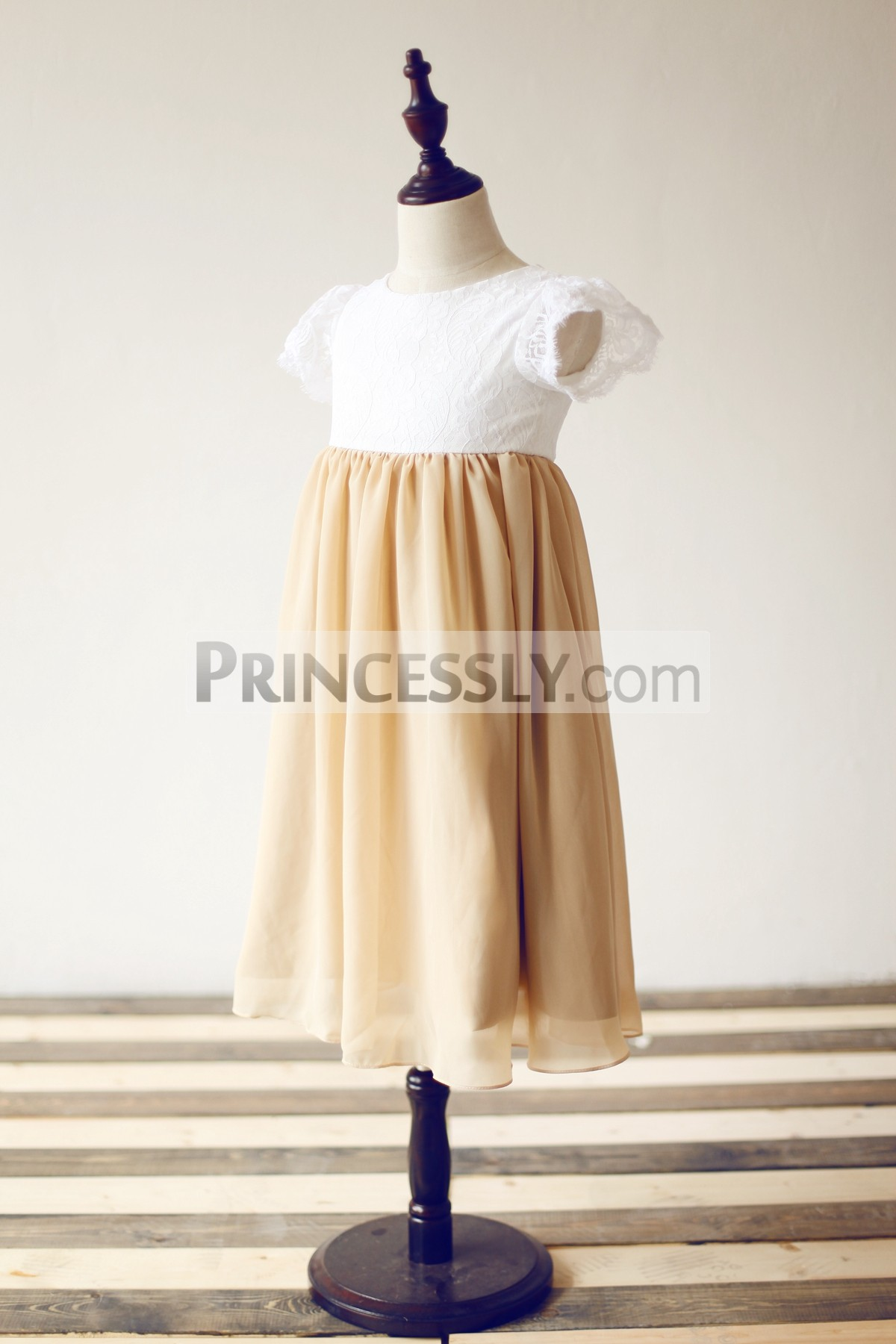 Short Puffy Sleeves Ivory Lace Champagne Chiffon Flower Girl Dress