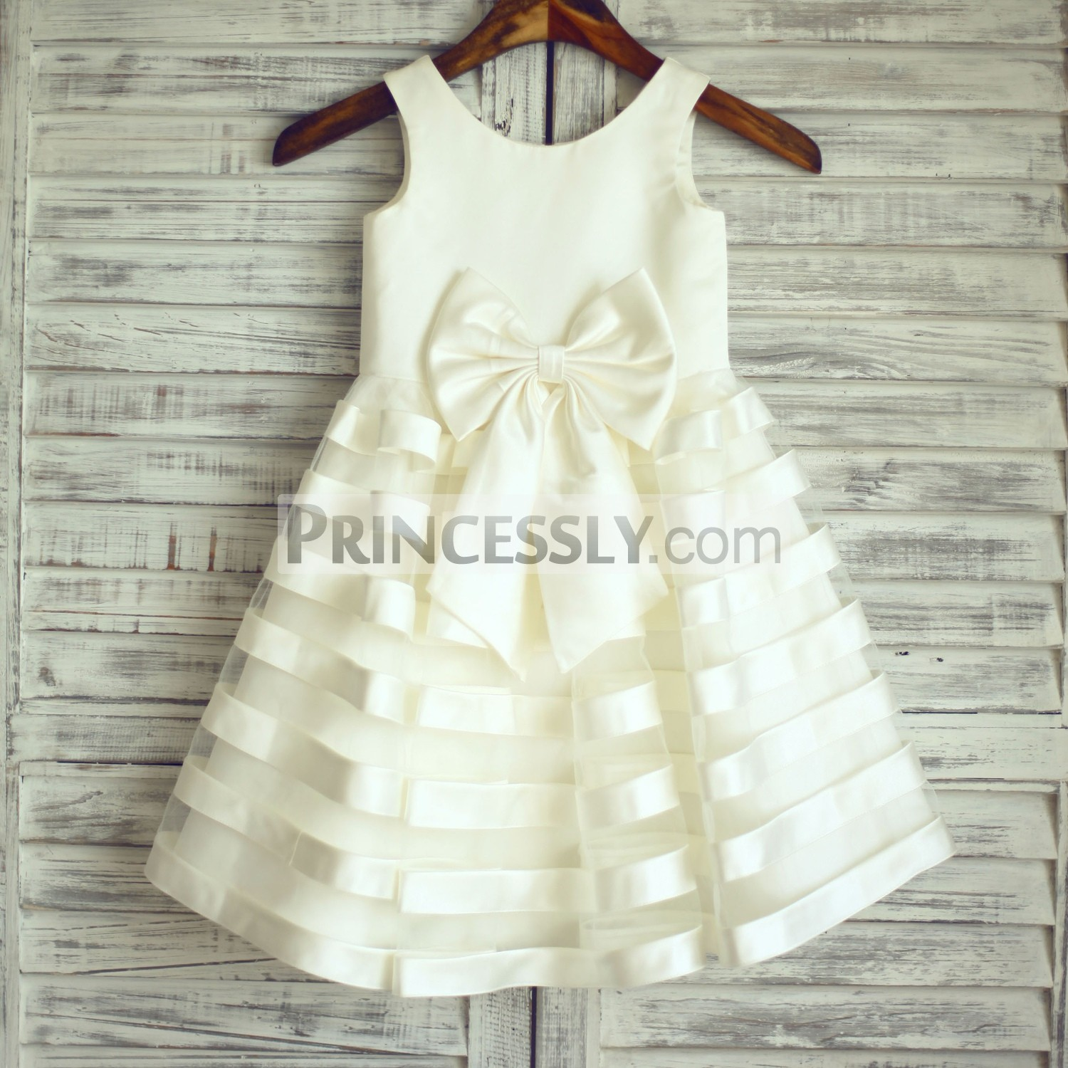 27de882f5 Ivory Satin Sheer Tulle Stripes Flower Girl Dress with Big Bow | Avivaly