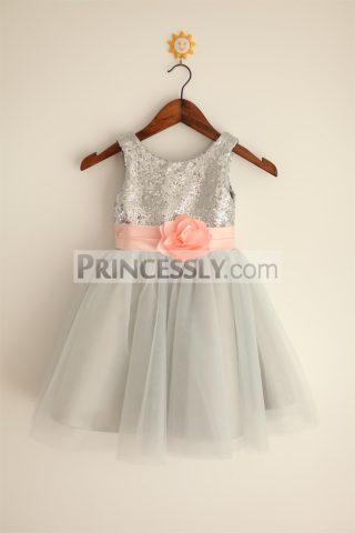 Princessly.com-K1000023-Silver-Grey-Sequin-Tulle-Flower-Girl-Dress-with-blush-pink-belt-31