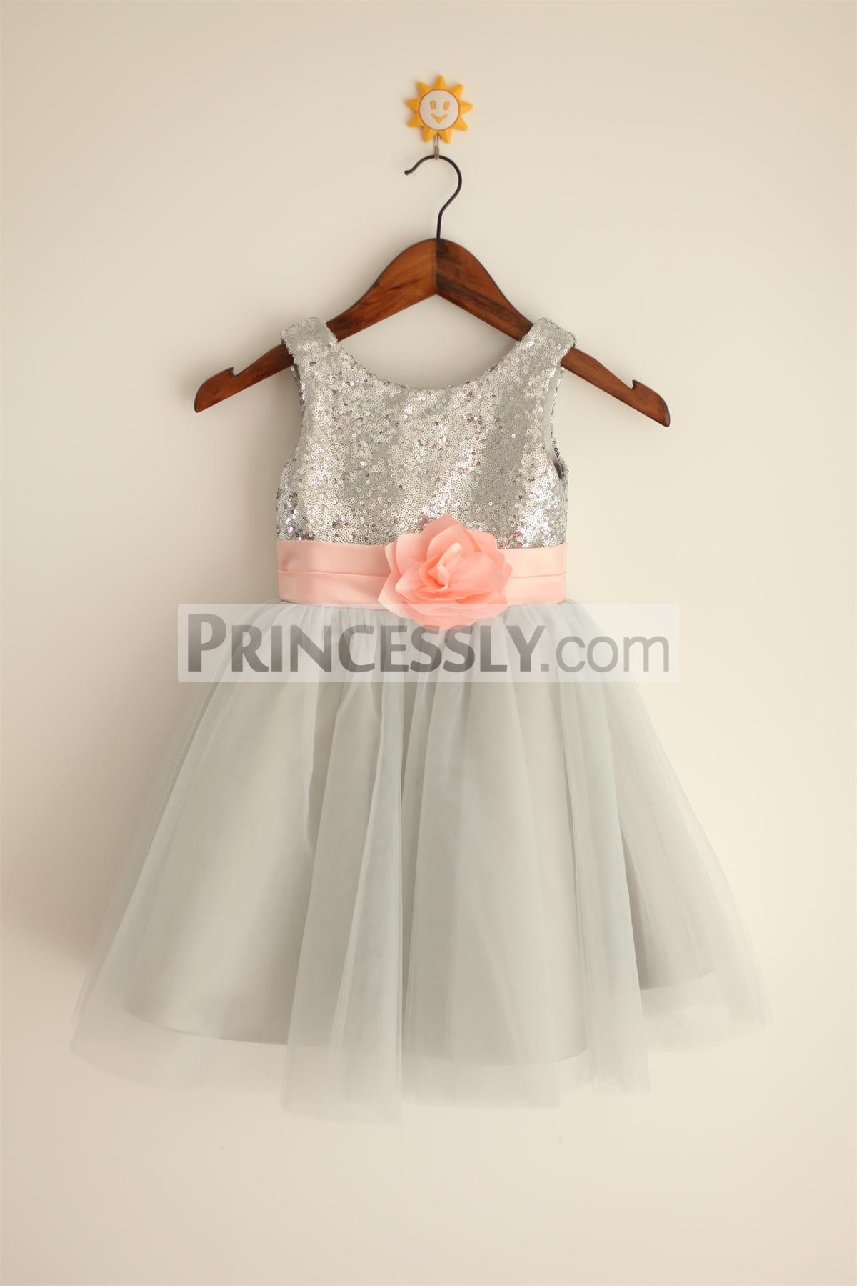 204f112c953 Silver Grey Sequin Tulle Flower Girl Dress with Blush Pink Belt ...