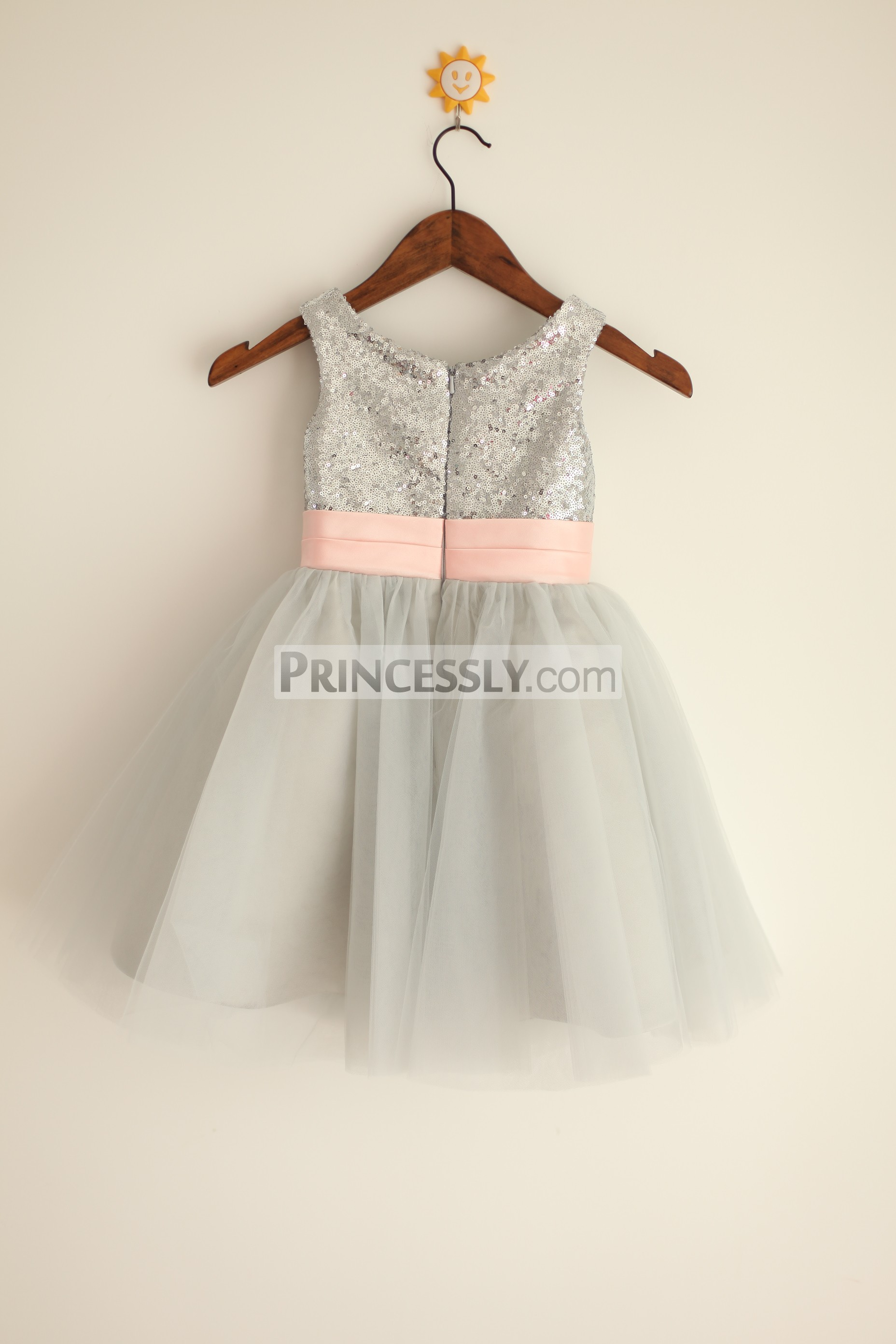 ac90a7e6e98 Silver Grey Sequin Tulle Flower Girl Dress with Blush Pink Belt ...