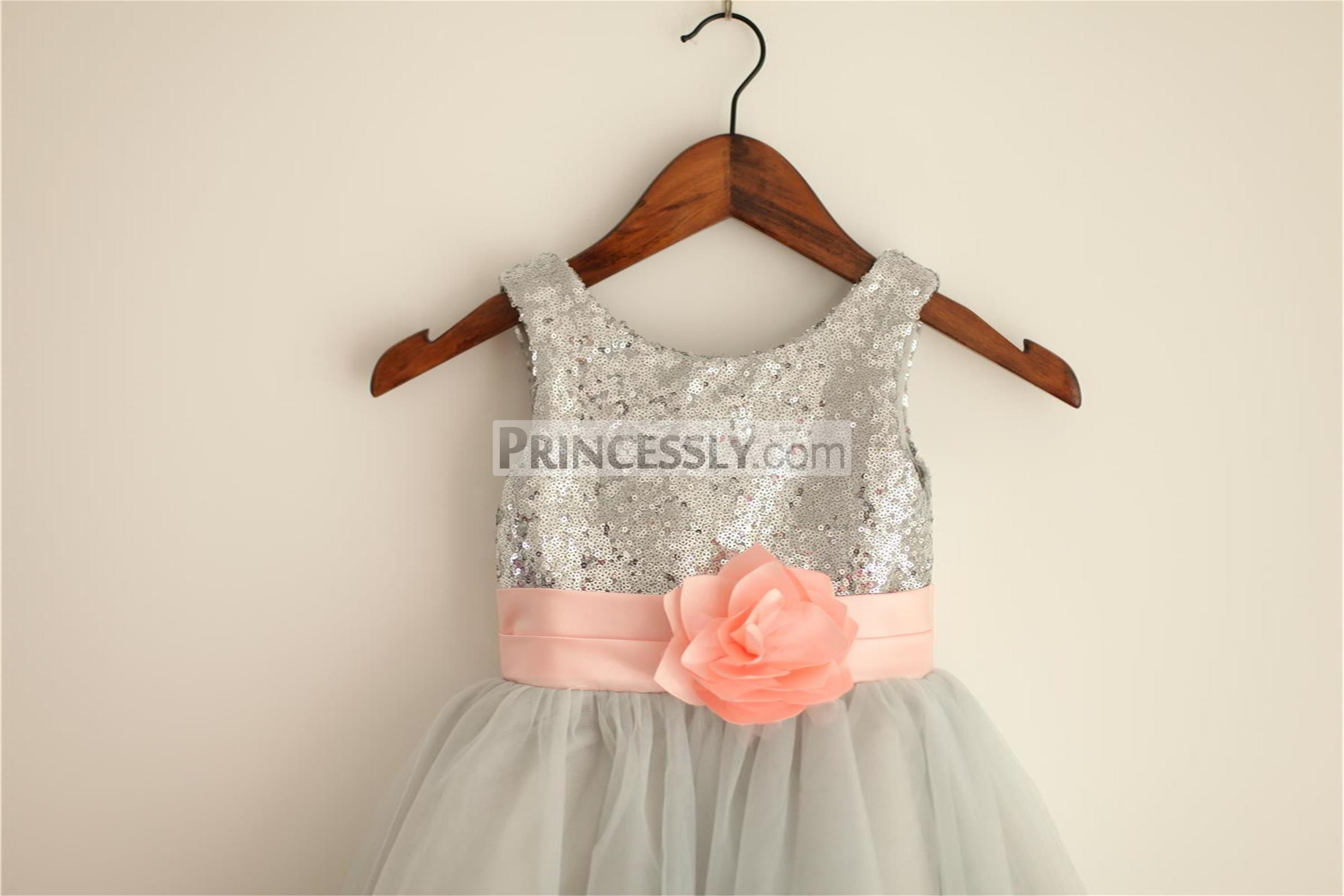 Light Gray Bridesmaid Dresses Knee Length Soft Tulle: Silver Grey Sequin Tulle Flower Girl Dress With Blush Pink
