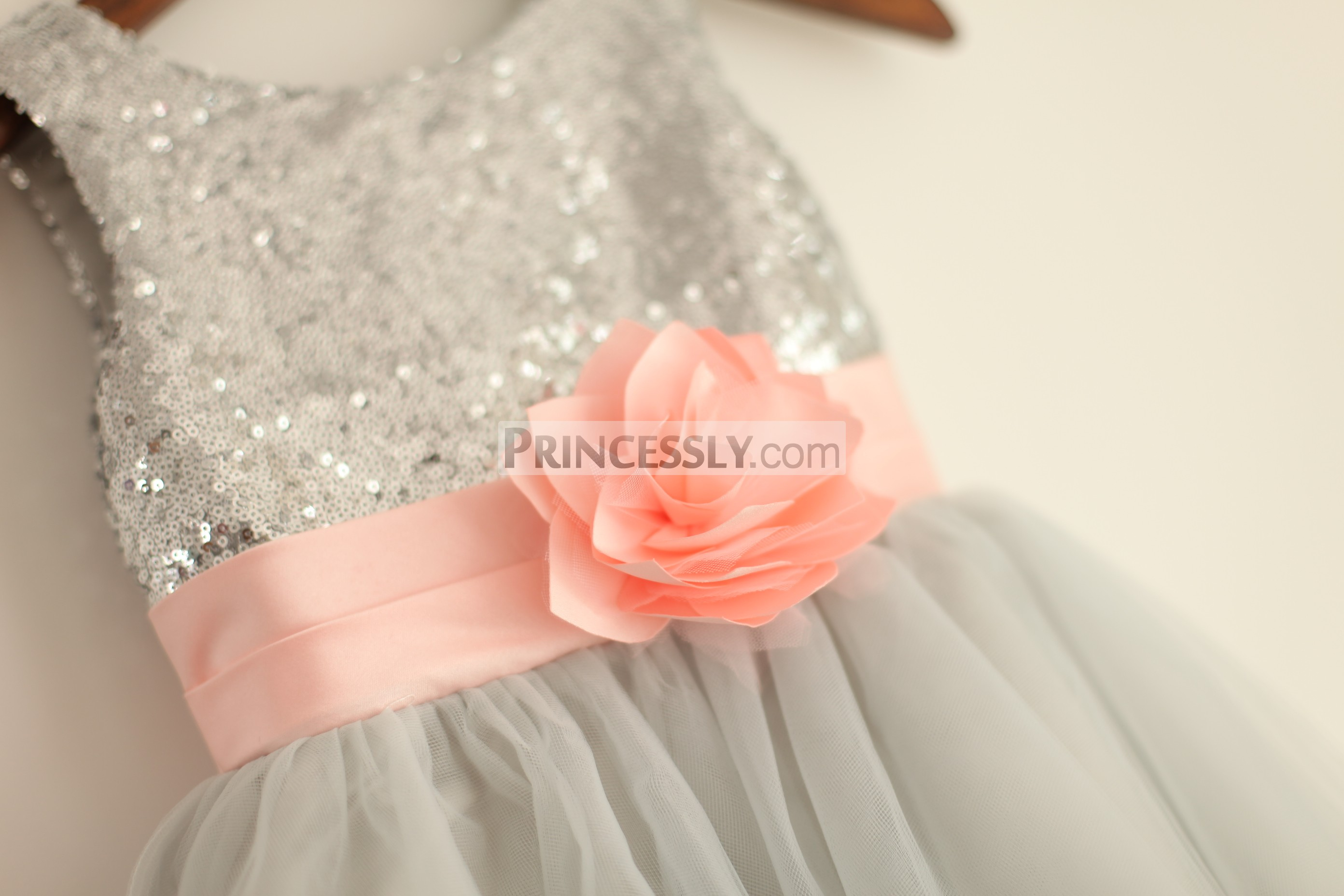 Silver grey sequin tulle flower girl dress with blush pink belt blush pink satin belt with a handmade flower on silver sequin bodice mightylinksfo