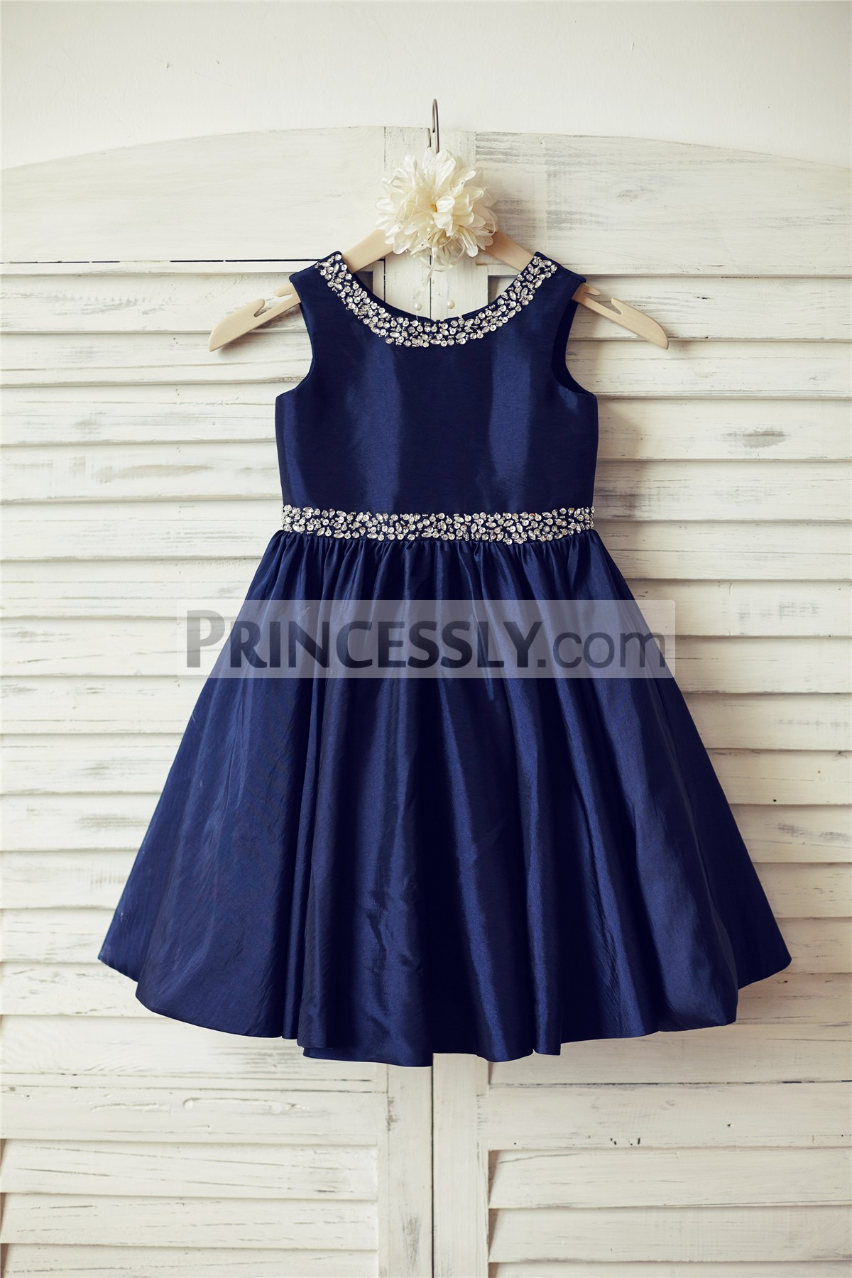 Beaded navy blue taffeta wedding flower girl dress avivaly for Navy blue dresses for wedding