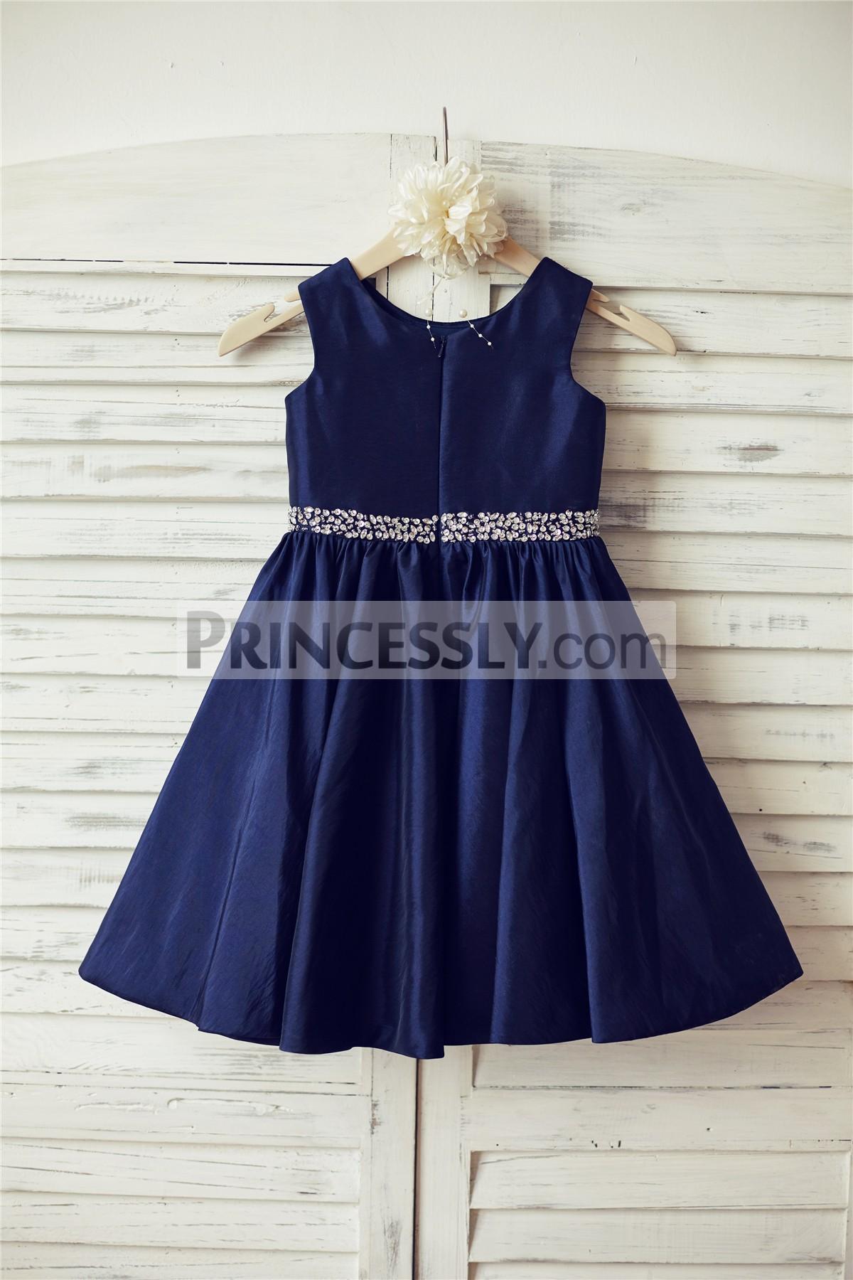 Beaded Navy Blue Taffeta Wedding Flower Girl Dress