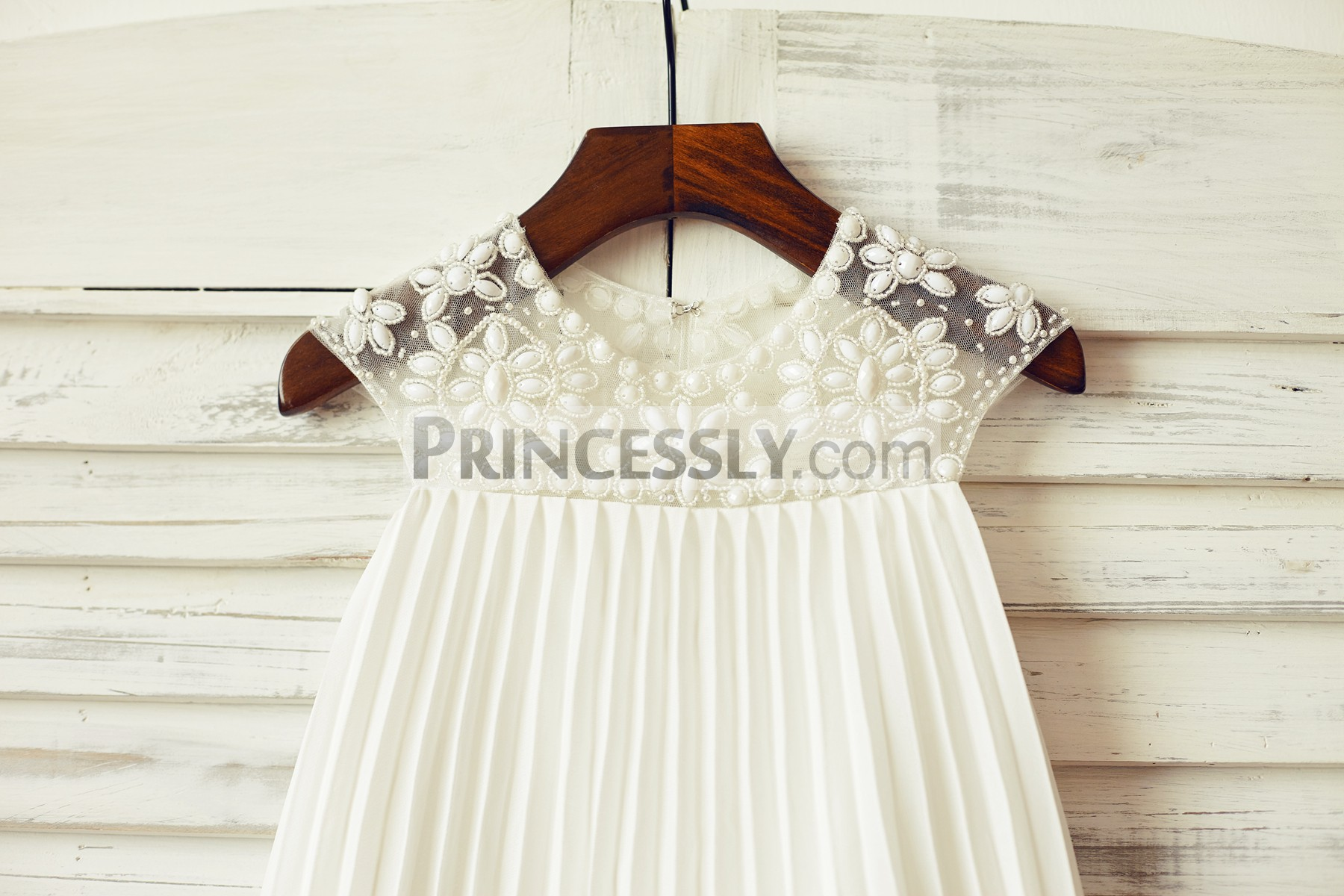 Beaded Sheer Neck Box pleated Ivory Chiffon Flower Girl Dress