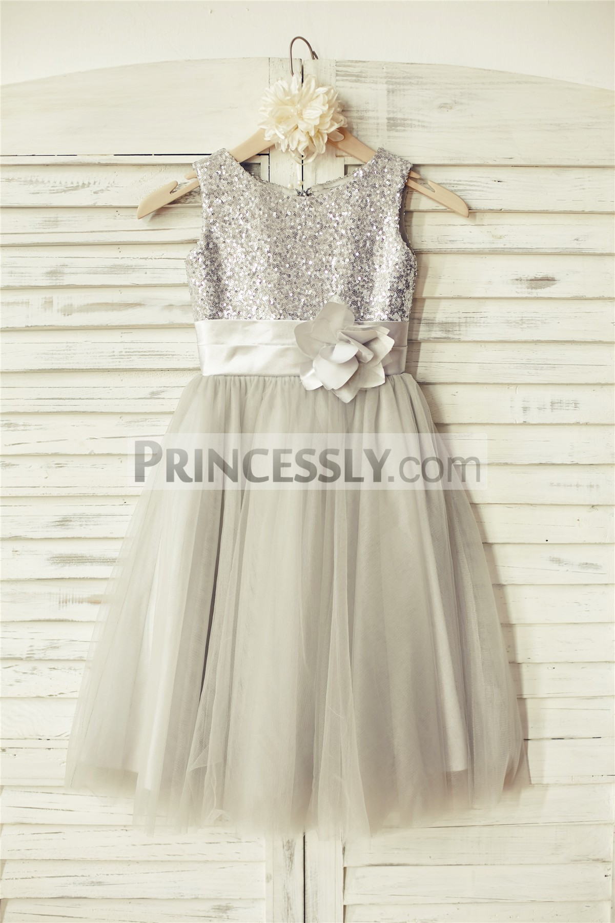 Silver Sequin Gray Tulle Flower Girl Dress With Belt