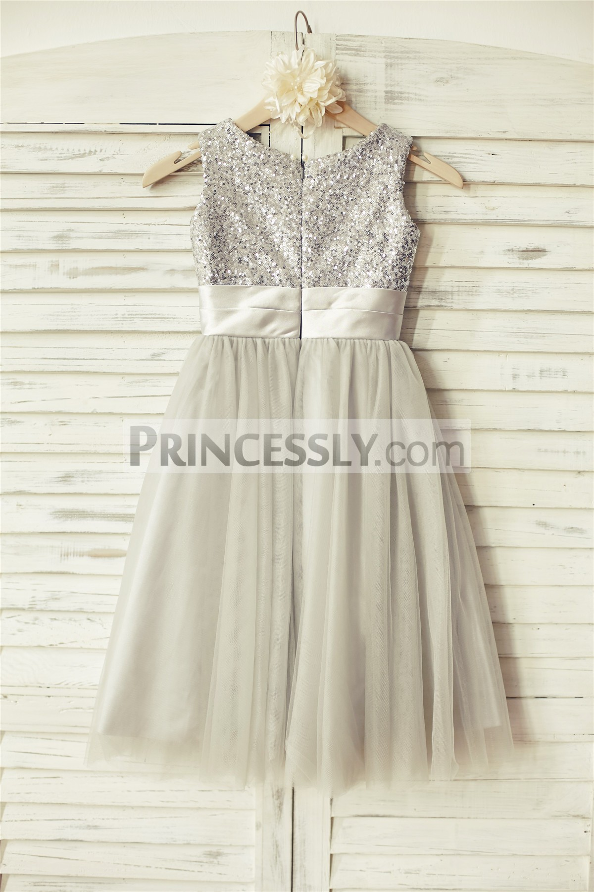 Modest neckline satin tulle wedding baby girl dress