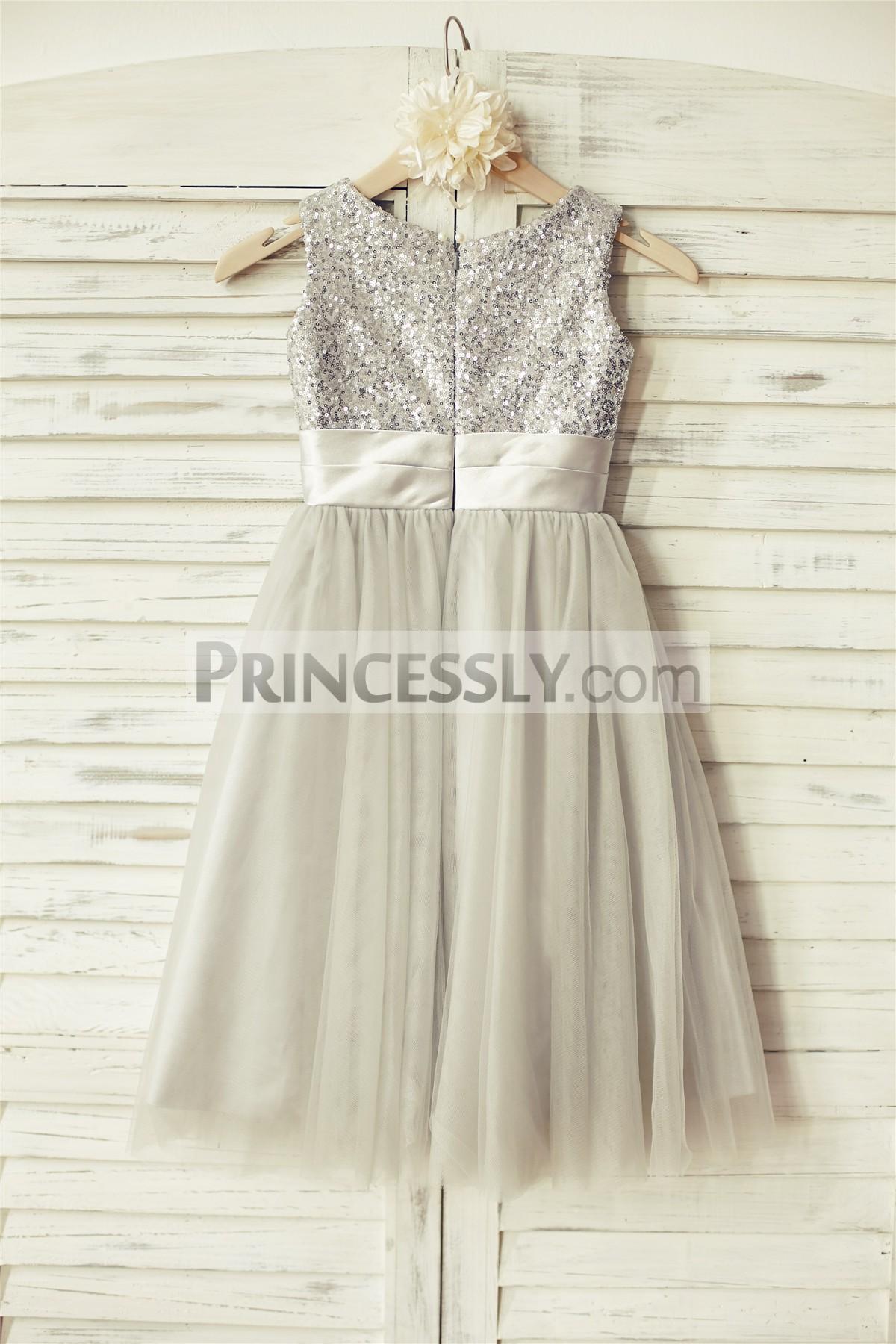 0cb2cd80947 Silver Sequin Gray Tulle Flower Girl Dress with Belt   Flower
