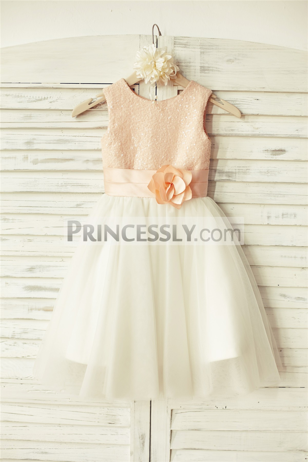 Peach sequins bodice and ivory tulle flower girl dress