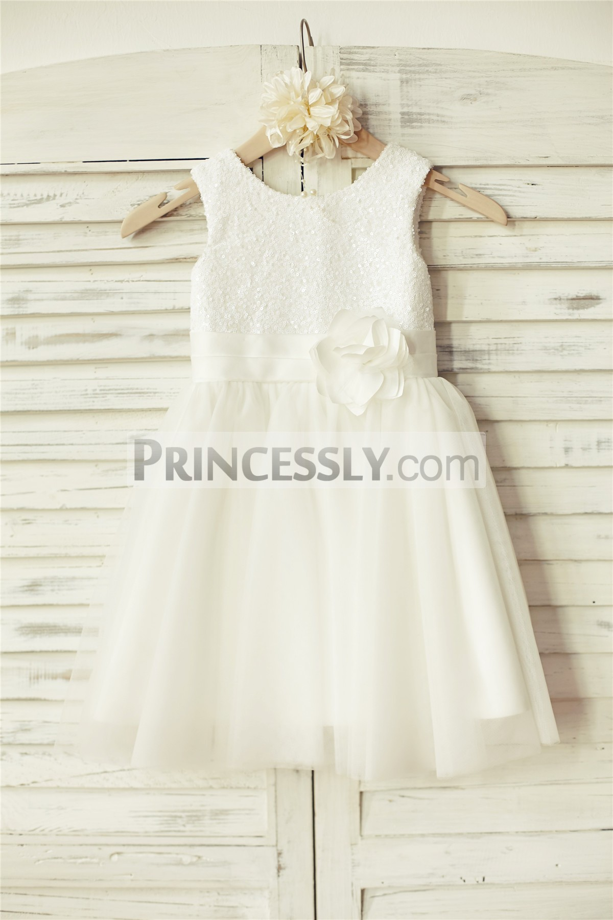 Ivory sequins tulle wedding baby girl dress with belt and flower